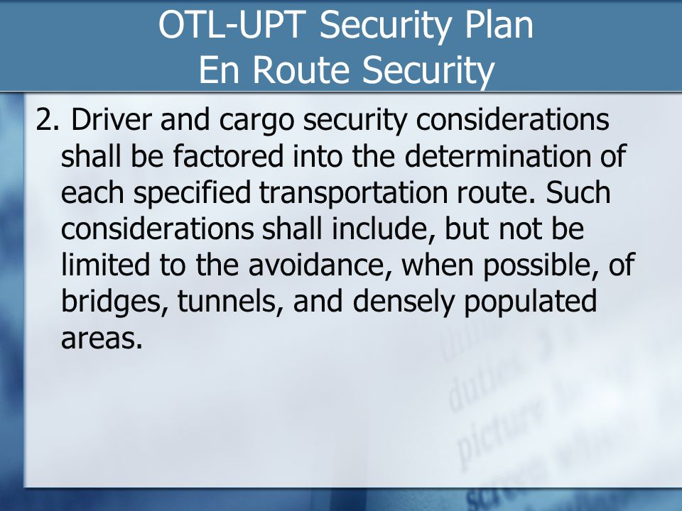 OTL-UPT Security Plan En Route Security
