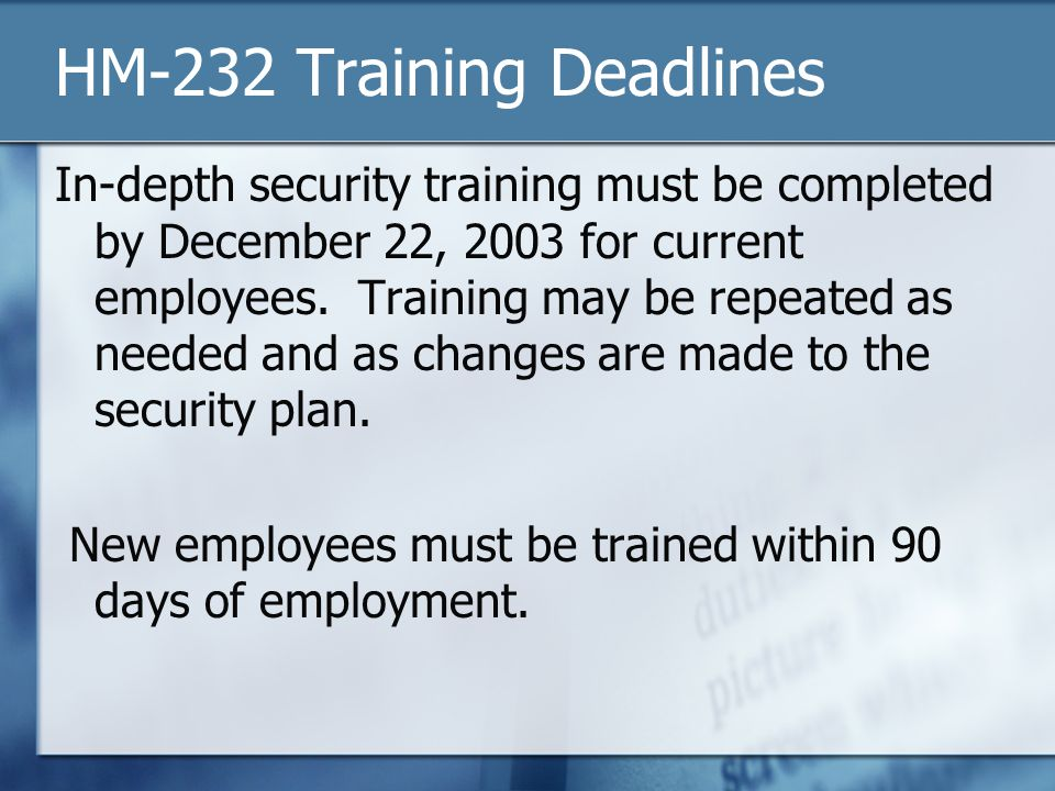 HM-232 Training Deadlines