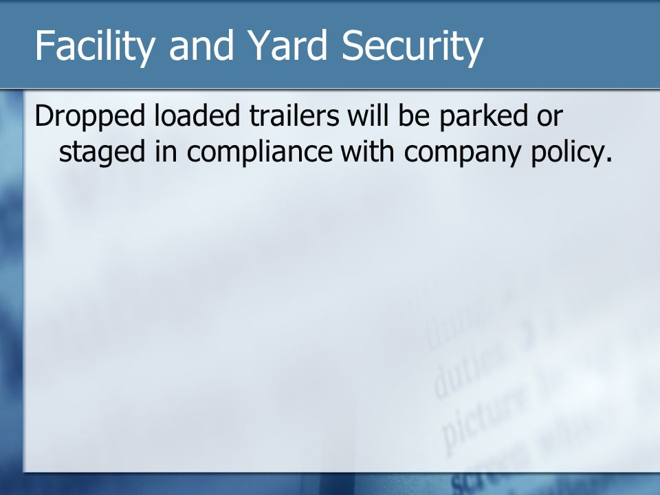 Facility and Yard Security