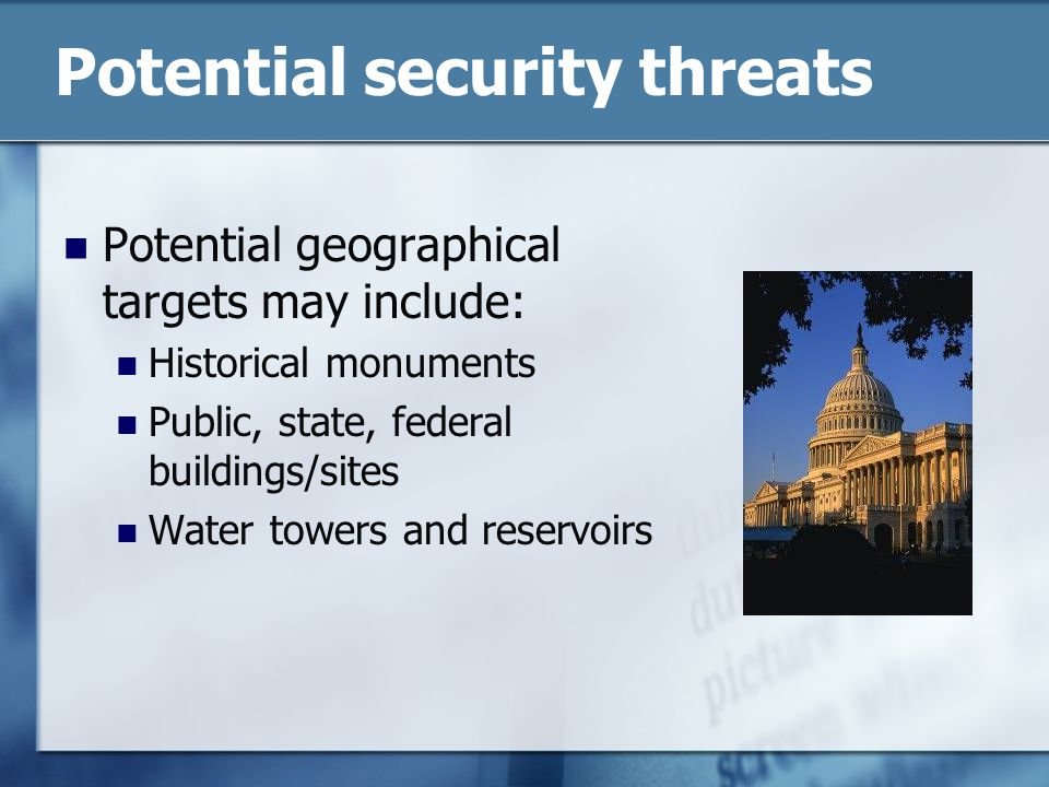 Potential security threats