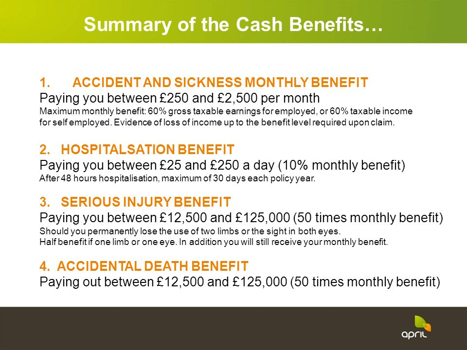 Summary of the Cash Benefits…