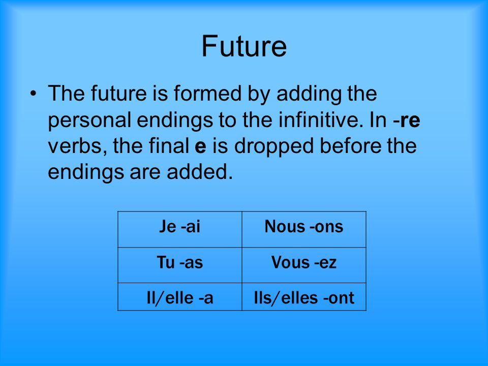 Future The future is formed by adding the personal endings to the infinitive. In -re verbs, the final e is dropped before the endings are added.
