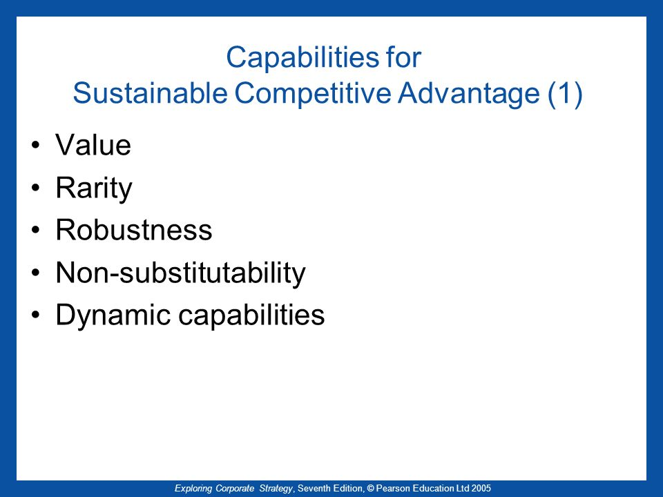 Capabilities for Sustainable Competitive Advantage (1)