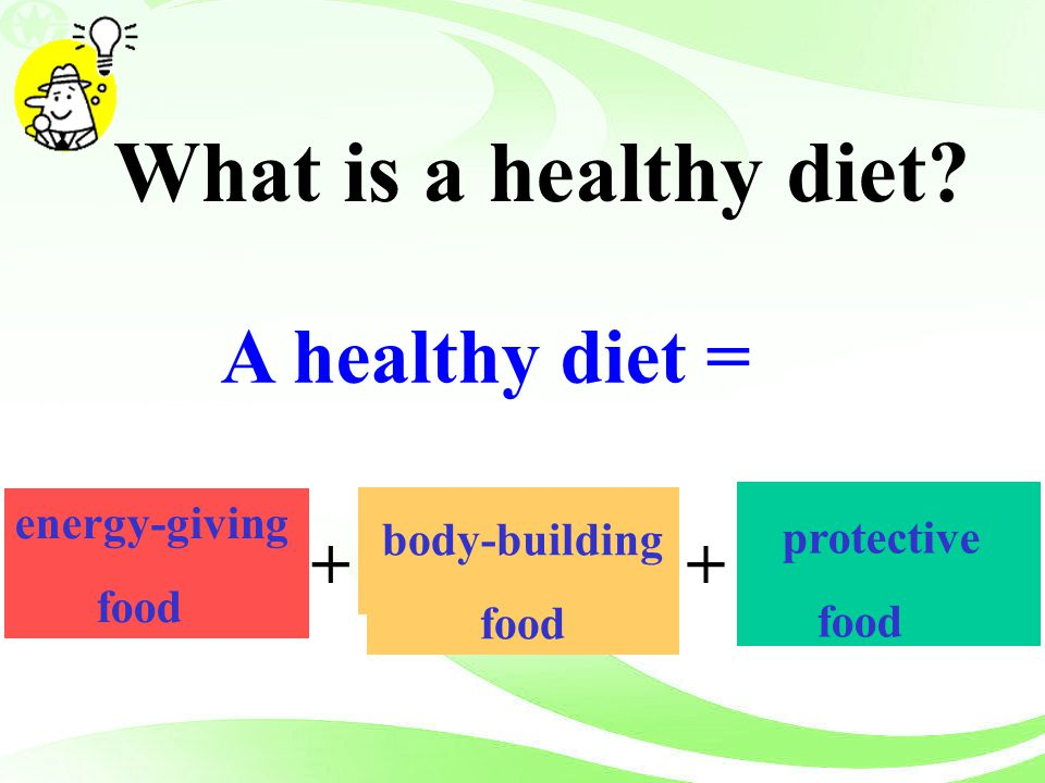 What is a healthy diet A healthy diet = + + energy-giving