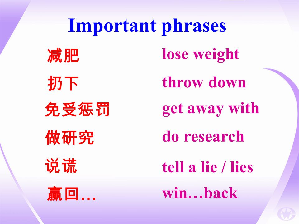 Important phrases lose weight 减肥 throw down 扔下 get away with 免受惩罚