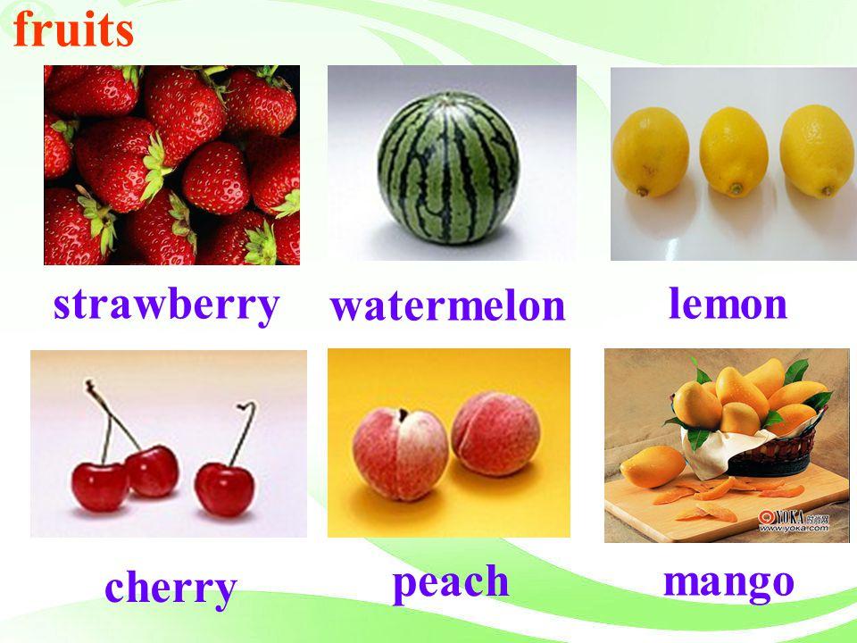 fruits watermelon strawberry lemon peach mango cherry