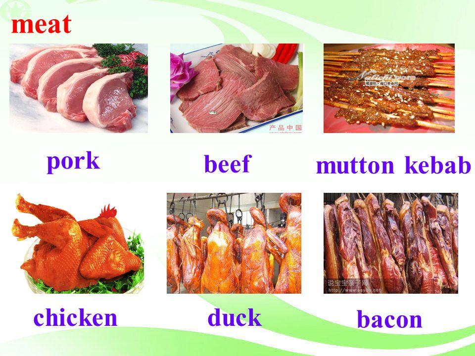 meat pork beef mutton kebab bacon chicken duck