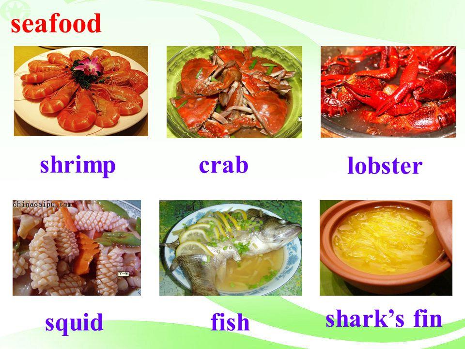 seafood lobster shrimp crab shark's fin squid fish