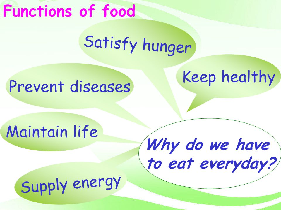 Functions of food Satisfy hunger. Keep healthy. Prevent diseases. Maintain life. Why do we have.