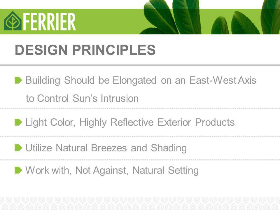DESIGN PRINCIPLES Building Should be Elongated on an East-West Axis