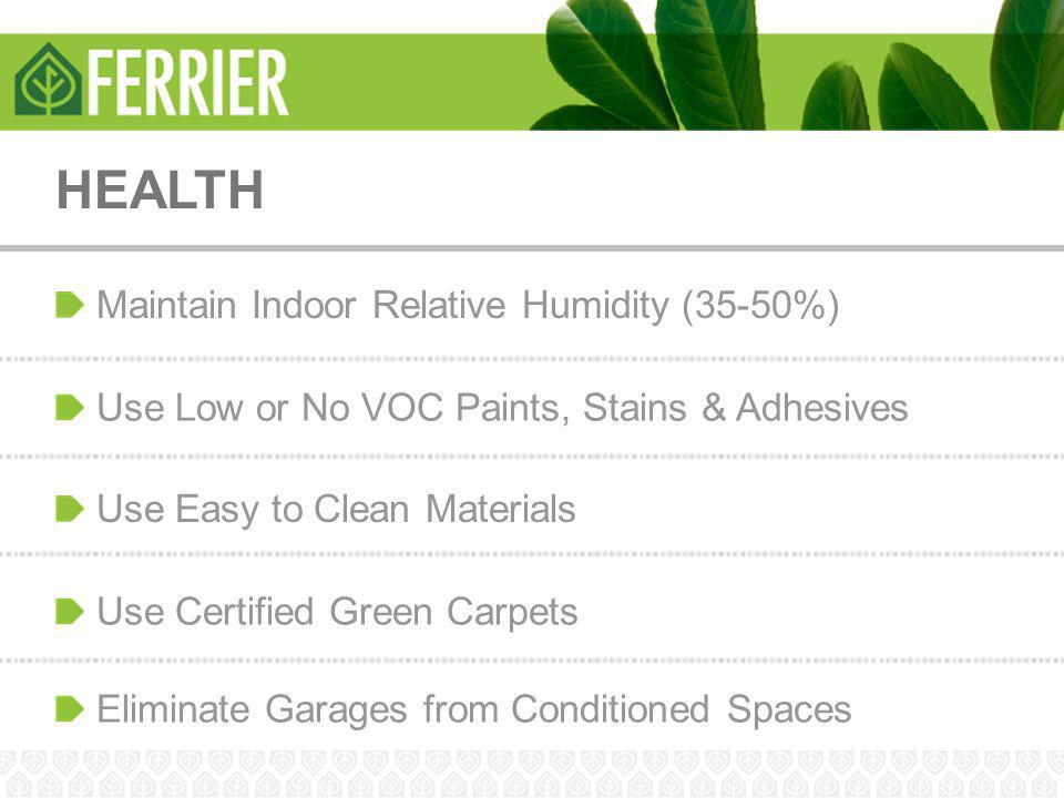 HEALTH Maintain Indoor Relative Humidity (35-50%)