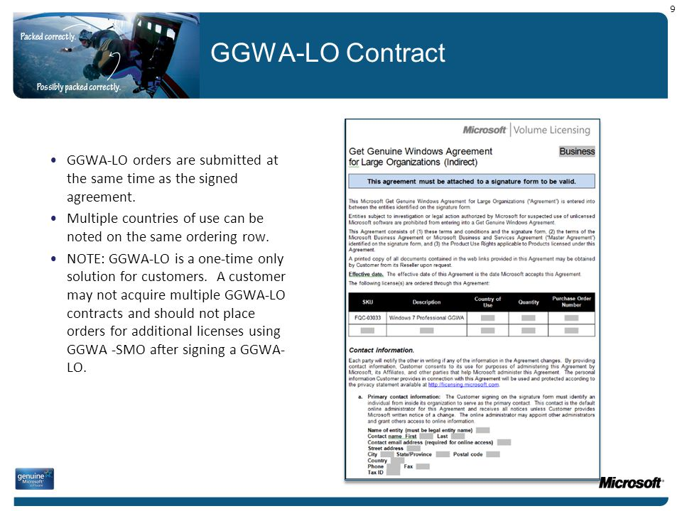 9 GGWA-LO Contract. GGWA-LO orders are submitted at the same time as the signed agreement.
