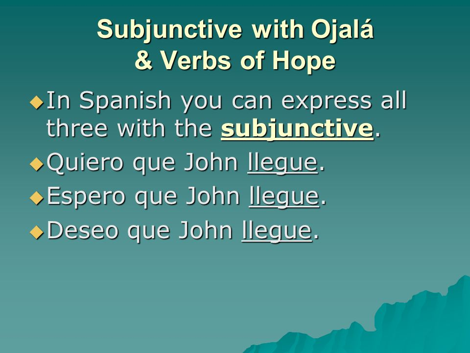 Subjunctive with Ojalá & Verbs of Hope