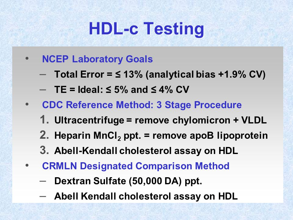 HDL-c Testing NCEP Laboratory Goals
