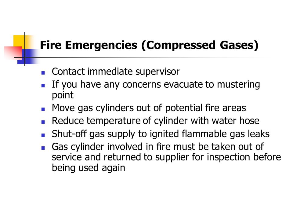 Fire Emergencies (Compressed Gases)