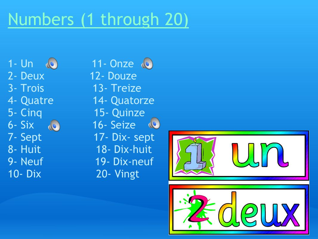 Numbers (1 through 20) 1- Un 11- Onze 2- Deux 12- Douze