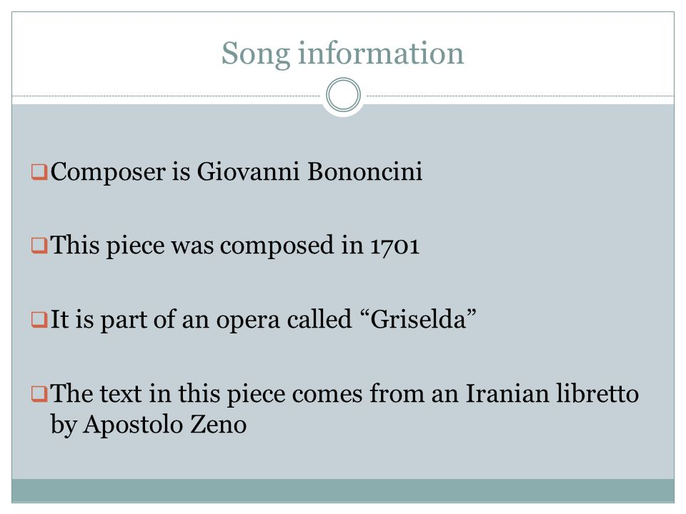 Song information Composer is Giovanni Bononcini