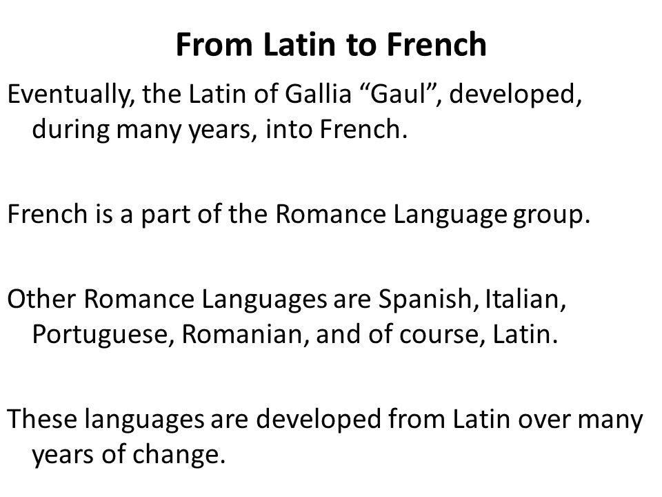From Latin to French