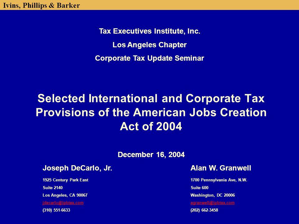 Tax Executives Institute, Inc. Corporate Tax Update Seminar