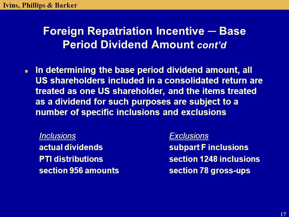 Foreign Repatriation Incentive ─ Base Period Dividend Amount cont'd