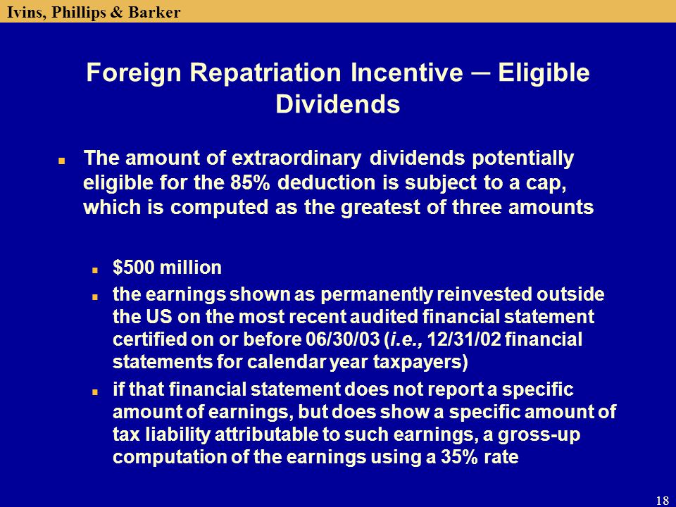 Foreign Repatriation Incentive ─ Eligible Dividends