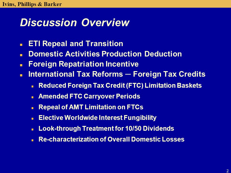 Tax Executives Institute Inc Corporate Tax Update Seminar Ppt