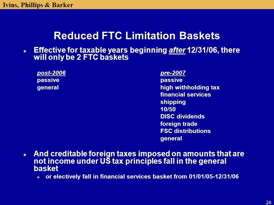 Reduced FTC Limitation Baskets