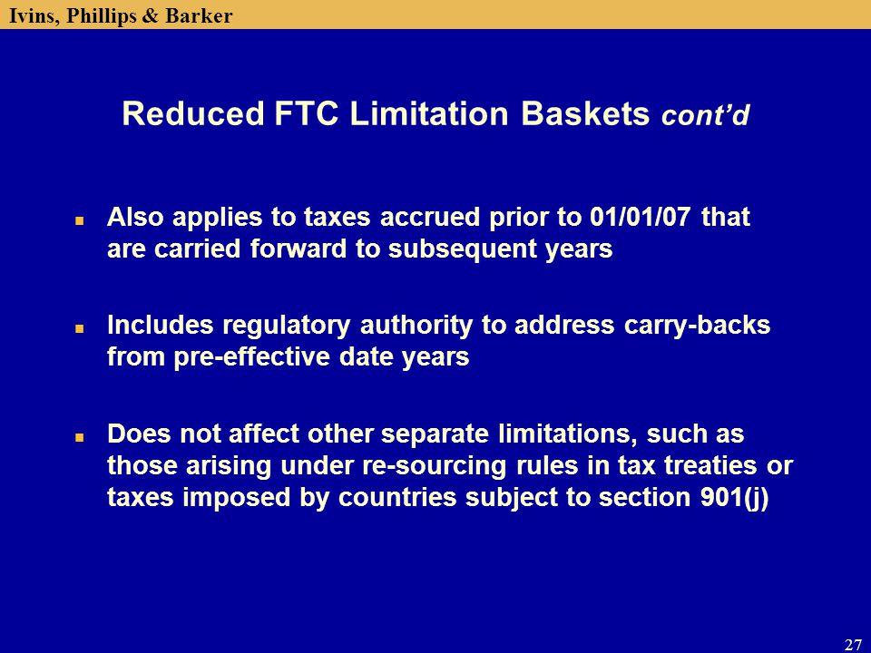 Reduced FTC Limitation Baskets cont'd