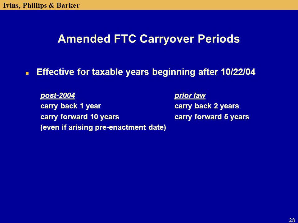 Amended FTC Carryover Periods