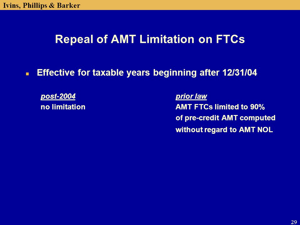 Repeal of AMT Limitation on FTCs