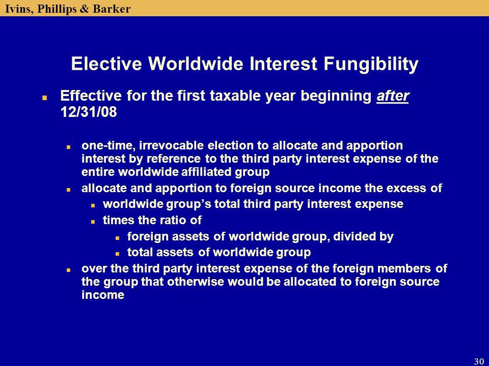 Elective Worldwide Interest Fungibility