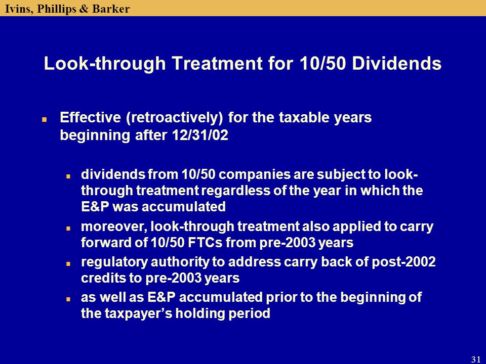 Look-through Treatment for 10/50 Dividends