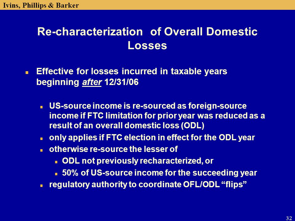 Re-characterization of Overall Domestic Losses