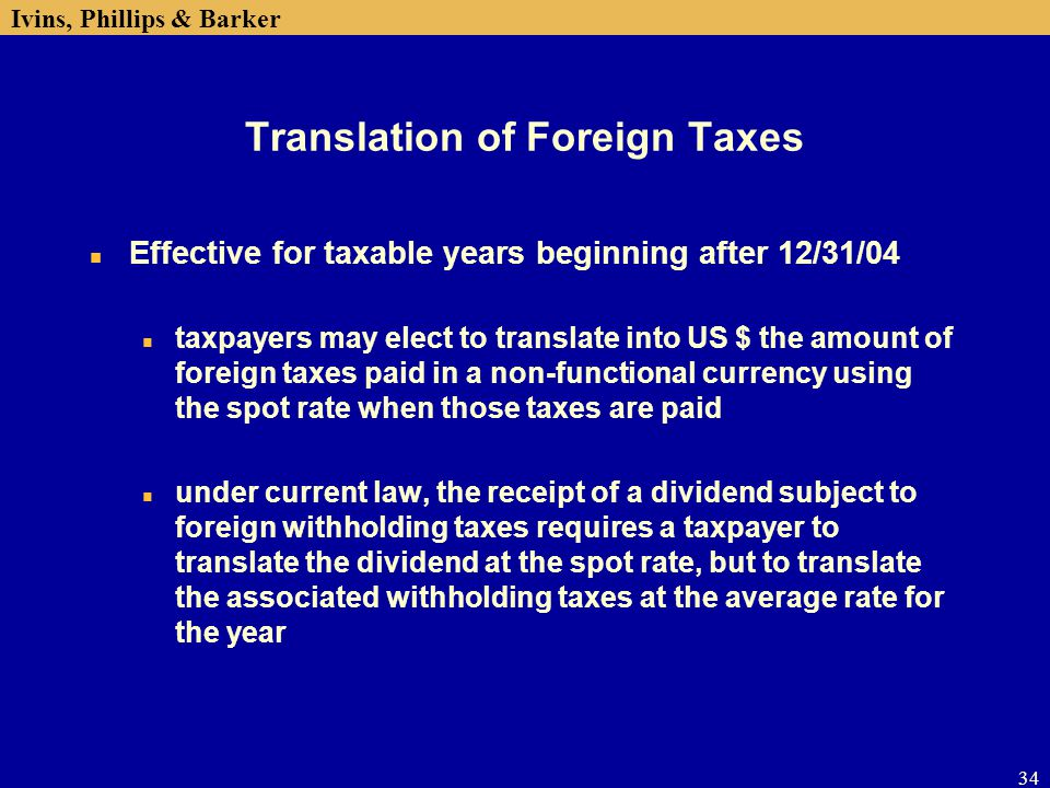 Translation of Foreign Taxes