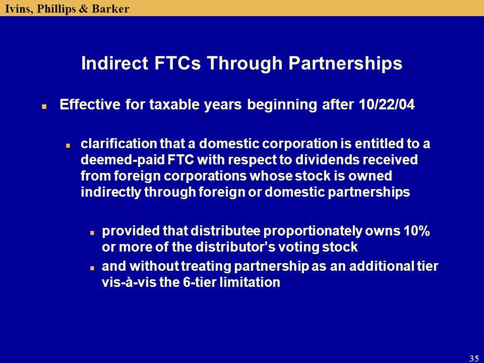 Indirect FTCs Through Partnerships