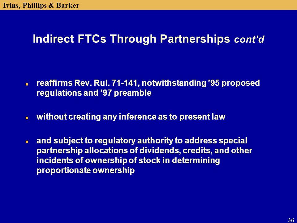 Indirect FTCs Through Partnerships cont'd