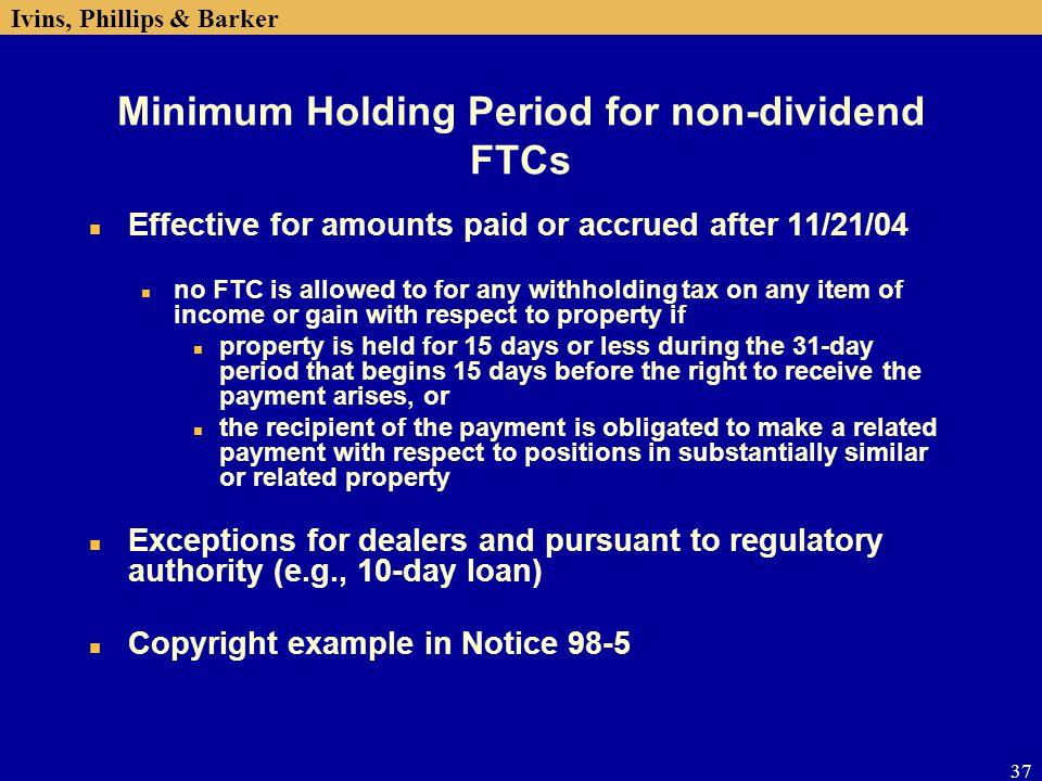 Minimum Holding Period for non-dividend FTCs