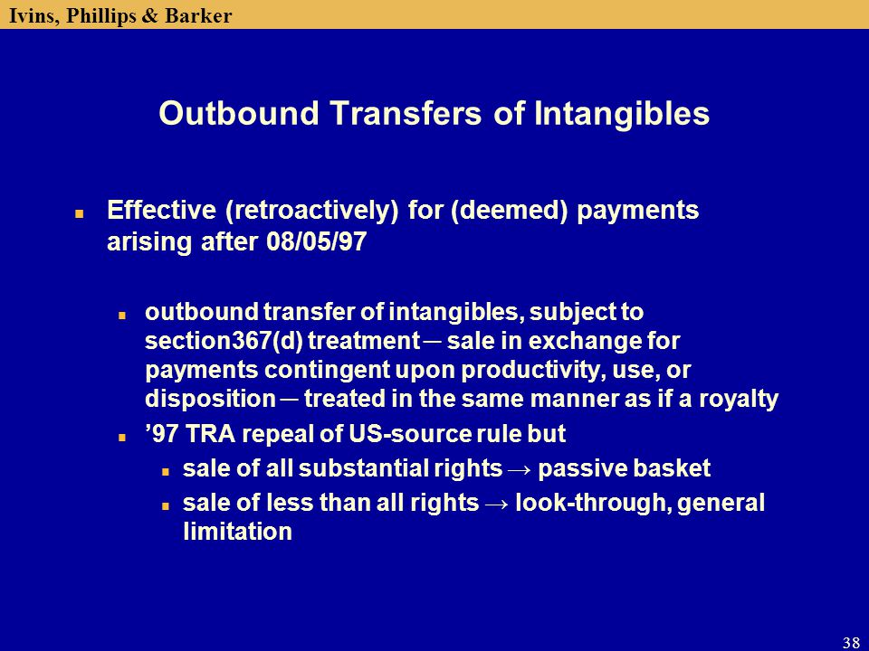 Outbound Transfers of Intangibles