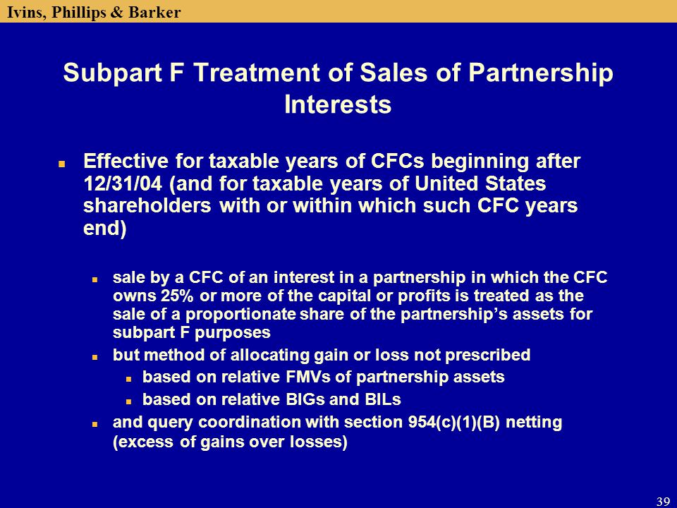 Subpart F Treatment of Sales of Partnership Interests