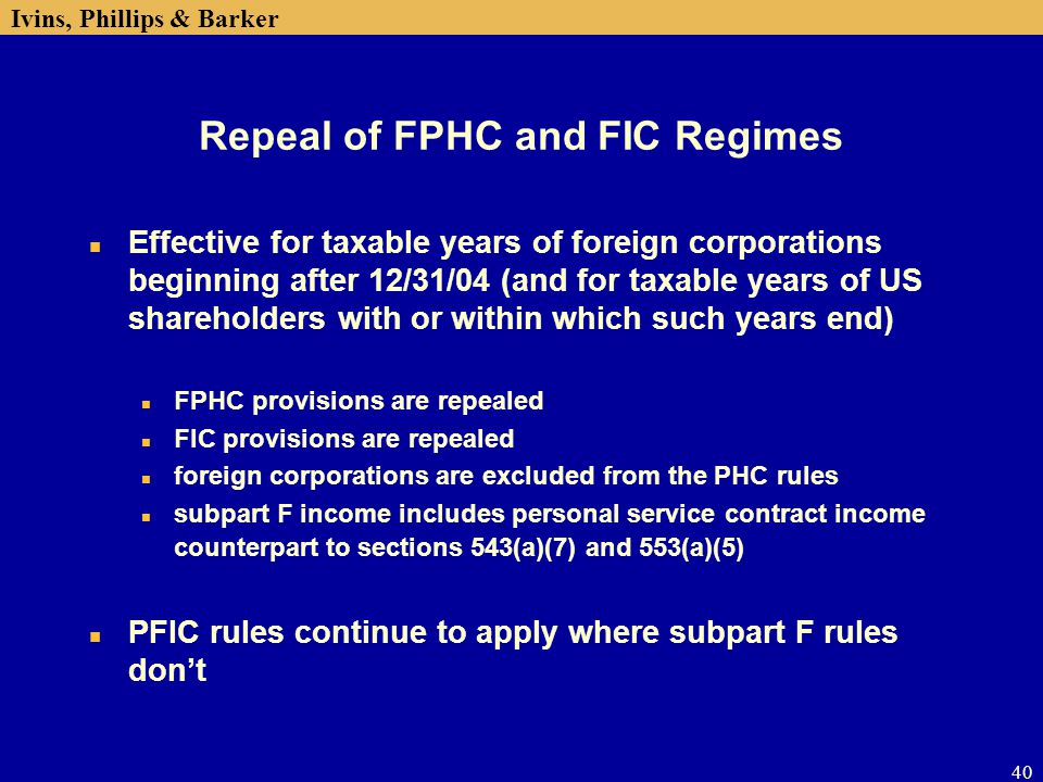 Repeal of FPHC and FIC Regimes