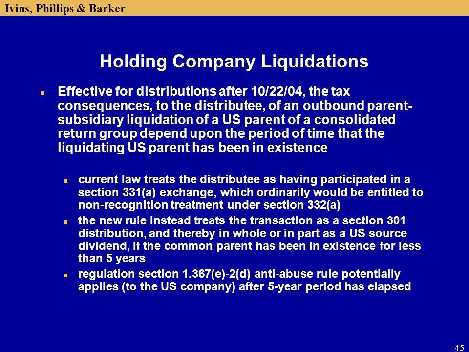 Holding Company Liquidations
