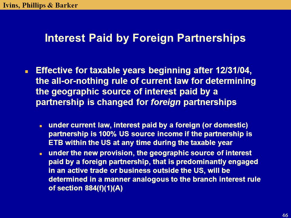 Interest Paid by Foreign Partnerships