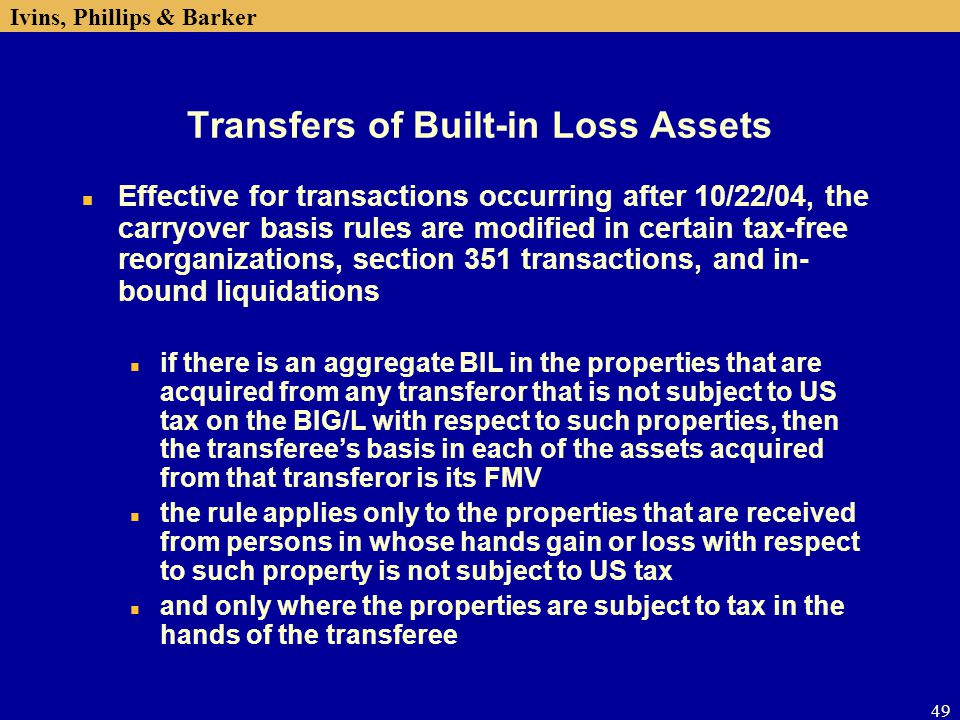Transfers of Built-in Loss Assets