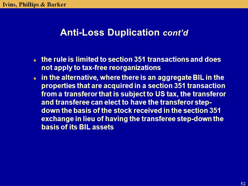 Anti-Loss Duplication cont'd