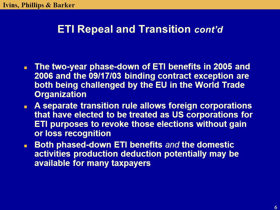 ETI Repeal and Transition cont'd