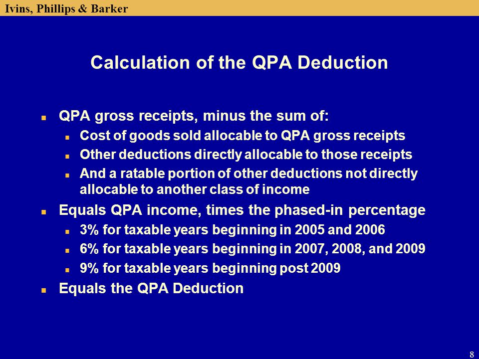 Calculation of the QPA Deduction