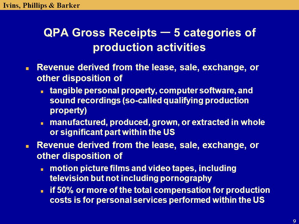 QPA Gross Receipts ─ 5 categories of production activities