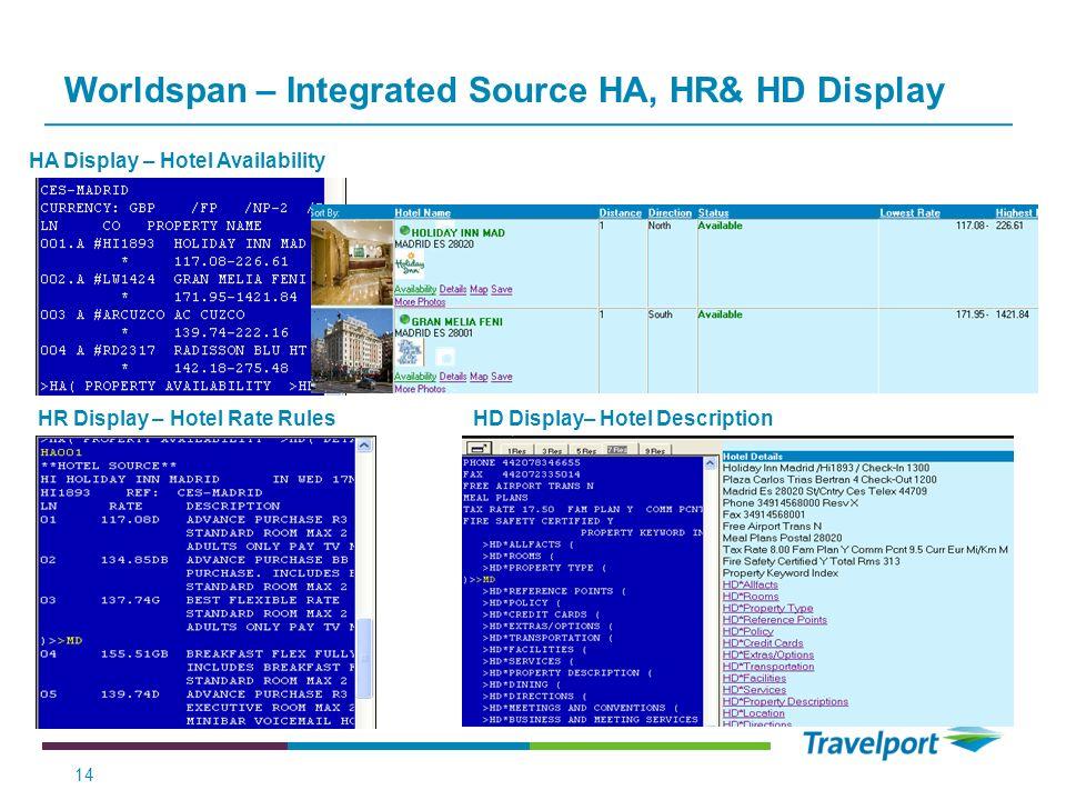Worldspan – Integrated Source HA, HR& HD Display