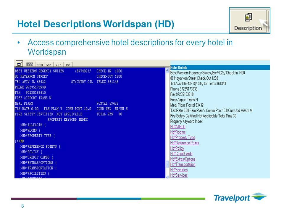 Hotel Descriptions Worldspan (HD)