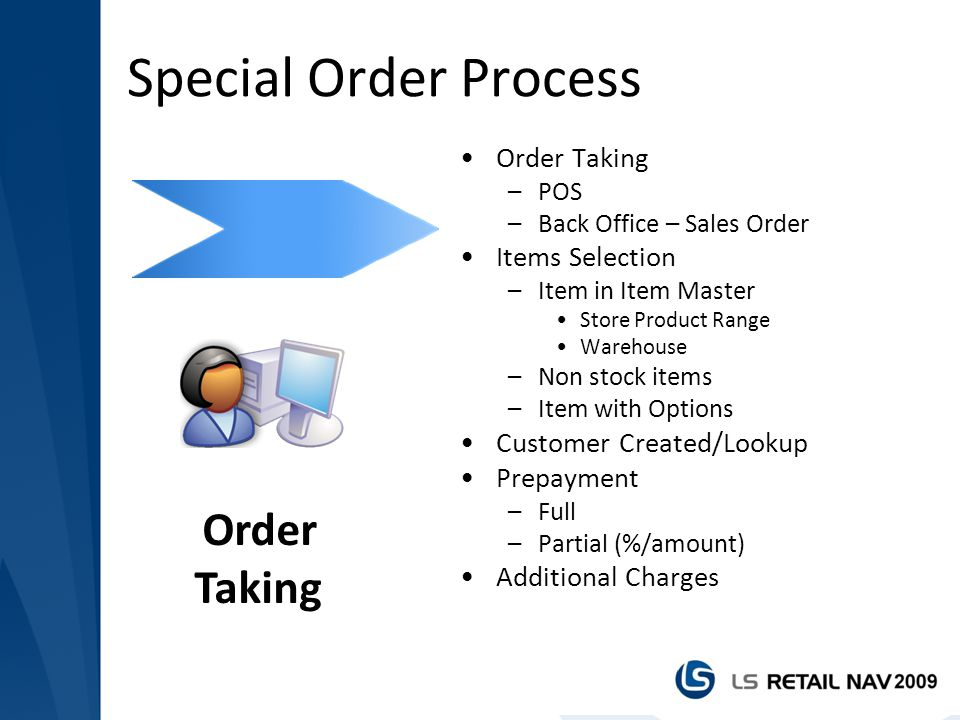 Special Order Process Order Taking Order Taking Items Selection